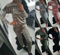 Wholesale Womens Velour Sets - 2017 Womens Velour Tracksuit Slim Sweatsuit 2 Two Piece Set Ruffled Sweatshirts + Pants Runway Fashion Long Sleeve Rullover Sleep wear suits