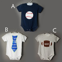 Wholesale Color Baby Romper Tie - 3 color short sleeved Jumpsuit triangular baseball tie climb clothes cotton baby romper printing 2017 new style Jumpsuit
