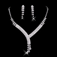 Wholesale Blue Necklace Bridal - 2017 Shinning Rhinestone Blue Lady Necklace Earring Sets Bridal Accessories Jewelry for Wedding Party Evening Prom In Stock Cheap 15023