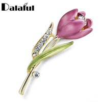Wholesale Wholesale Costume Rhinestone Animal Jewelry - Elegant Tulip Flower Brooch Pin Rhinestone Crystal Costume Jewelry Clothes Accessories Jewelry Brooches For Wedding Z014