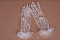Wholesale Cheap Lace Yarn - 2017 Super Cheap Full Finger Wrist Length Sheer Tulle Bridal Gloves New Arrival Cheap in Stock Lace Wedding Gloves Wedding Accessory