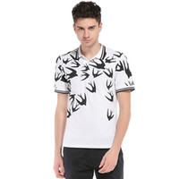 Wholesale United Mold - Outer mold real trade new men Europe and the United States wind swallows printing lapel short sleeve large size T - shirt