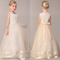 Sash cute party dresses - heap Girls Party Dresses New Colors Cute Summer Spring Flower Girls Dresses A Line Floor Length Wedding Dresses For Girls MC0683