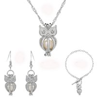 Wholesale Owl Earrings China - Silver Pearl Cage Owl Pendant Necklace Bracelet Earrings Jewelry Set With Oyster Pearls Jewelry For Women Wedding Party