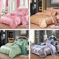 Wholesale Satin Sheet Set Free Shipping - DHL Free Shipping Luxury Silk Full Queen Mulberry Satin Comforter 4Pcs Bedding Set Bedspread Customized Bag Duvet Cover Sheet Pillowcase