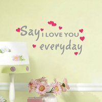 Wholesale Vinyl Wall Art Sayings - Say Love You Everyday Quote Wall Stickers DIY Hearts Murals Art Vinyl Wall Decal for Home Decor