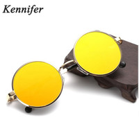 Wholesale Smallest Round Men Sunglasses - Kennifer New Brand Designer Classic Polarized Round Sunglasses Men Small Vintage Retro Sun Glasses Women Driving Metal Eyewear Summer