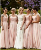 Wholesale Tan Color Dresses - Vestido madrinha Pink Bridesmaid Dresses Long Chiffon Gown Tan Country Style Beach Maid Of Honor Party Gowns Wedding Formal Wear
