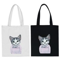 Wholesale Wholesale Cat Bags - Wholesale- New Brand Women Canvas Casual Zipper Shopping Shoulder Bag Large Solid Crossbody Bag Lady Girl Cartoon Cat Tote Handbags GO503