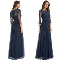 Wholesale Hourglass Mesh Long Sleeve Dress - 2016 Sexy New Dark Navy Long Sleeves Lace Evening Dresses Sheer Illusion Mesh Sweep Train Prom Evening Gowns