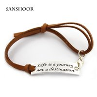 Wholesale Wholesale Leather Stamps - Positive Inspirational Quote life is a journey not a destination Stamped Rectangle Charm Adjustable Leather Bracelet 30pcs lot,Free Shipping
