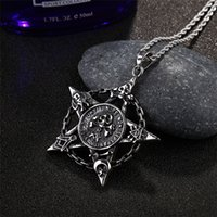 Wholesale White Gold Pentagram Pendant - New Punk Titanium Stainless Steel Cool Pentagram Skull Pendant Necklace for Men Gothic Style Necklace Jewelry Accessory Wholesale