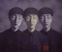 malen zhang großhandel-Gerahmt, viel Großhandel, reine Handarbeit Porträts Kunst Zhang Xiaogang Ölgemälde auf hochwertige Leinwand Baumwolle Leinen Multi Größen, R186 #