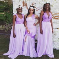 lila brautjungfer stil kleid großhandel-Flieder drei Stil Nigeria lange Brautjungfernkleider mit Spitze Applique eine Linie Trauzeugin Mermaid Hochzeit Gast Kleid Chiffon Brautkleider