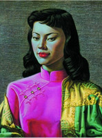 Wholesale chinese art canvas - Framed Vladimir Tretchikoff CHINESE GIRL figurative PREMIUM QUALITY,genuine Pure Handpainted Art oil Painting Thick Canvas Multi sizes P062