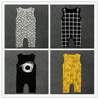 Wholesale Prints Patterns Jumpsuits - 4 styles infants baby sleeveless jumpsuit net pattern cobwebbing glasses grids checks print vest romper ins hot summer outfits for boys girl