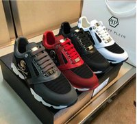 Wholesale Hip Hop Shoes For Men - 2017 New Luxury Brand high quality Men Shoes Genuine Leather Skull Hip Hop Men Casual Shoes Size Shoes For Men Black White Red