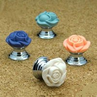 Wholesale Drawer Knobs Kid - colourful flower copper  brass base knob shiny silver drawer shoe cabinet pull flower type kids funiture decoration knobs handle
