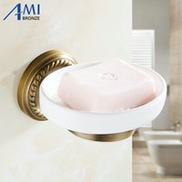 Wholesale Stainless Steel Disks - AB1 Series Antique Brass Soap Dishes Disk Holder Bathroom Accessories wall mounted Sanitary wares 7005A