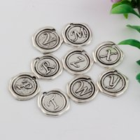 Wholesale Mixed Alphabet Charms - Hot Sales ! 150pcs Antique Silver Zinc Alloy Single-sided mixed Alphabet Initial Charm Pendants 18x 18.5mm DIY Jewelry