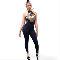 Wholesale Bodycon Halter - 2017 Women Sequin Embroidery Rompers Elegant Halter Backless Bodycon Long Bodysuit Femme Sexy Transparent Overalls Club Jumpsuit