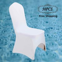 Wholesale Universal Chair Covers Free Shipping - Free Shipping 50PC Pack Universal Polyester Elastic Spandex Lycra Chair Covers for Wedding Banquet Event Home Office Party Hotel Decoration