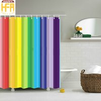 Wholesale Wholesale Striped Curtains - Shower Curtains Creative Bathroom Decor Digital Printing Colorful Vertical Stripes Polyester Bath Curtain With Hooks Drop Shipping 2 Sizes
