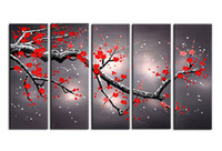 Wholesale Abstract Art Plum Blossom - Fashion Canvas Painting art red plum blossom Pictures hand-painted On Canvas Large 5 Piece Wall Pictures For Living Room Bedroom Office h21