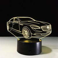 2017 carro 3D Illusion Night Lamp 3D Optical Lamp AA bateria DC 5V Dropship grossista Frete Grátis