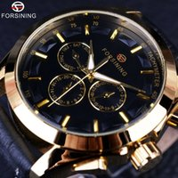 Wholesale Mechanical Designer - Forsining 2017 Retro Fashion Designer Three Dial Decoration Genuine Leather Golden Men Luxury Brand Automatic Mechanical Watches
