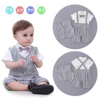 Wholesale Stripe Boy Vest - Baby Boys Gentleman Rompers Infant Summer Gray Stripe Short Sleeve One Piece Jumpsuits Overalls With Vest Toddler Clothes E17042