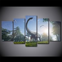 More Panel Oil Painting Classical 5 Pieces Dinosaurs Park Animal Wall Art Canvas Pictures For Living Room Bedroom Home Decor Printed Framed Canvas Paintings WR-10