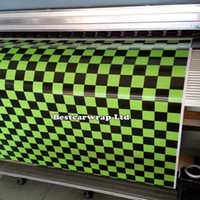 Wholesale Bubble Free Adhesive - Yellow chequer Printed Vinyl Car Wrap film With Air bubble Free Car cover stickers Self adhesive Vinyl size 1.52x 5m 10m 20m 30m
