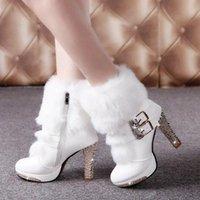 Wholesale White Fur Fashion Boots - Wholesale-2016 Winter Fur Boots Women's Plush Warm Platform Ankle Boots Shoe side zipper buckle Woman High Heels fashion Shoes Black White