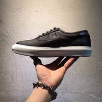 Wholesale Low Top Platform Sneakers - 2017 RARE Newest Style spring fall fashion mens all black Embossed leather low top lace up flat Platform Trainers Sneakers