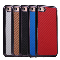 Wholesale Iphone Chrome Carbon Fiber Case - Carbon Fiber Pattern Chrome Plated Metallic Plating Frame Cover Case for iPhone 7 6 6S Plus Samsung S6 S7 Edge Note 5