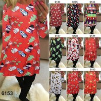Wholesale Summer Christmas T Shirt - 6 Colors Women's Christmas Santa Claus Penguin Printed Pullover Flared A Line Dress Cosplay Long Sleeve Top T-shirt Clothing CCA7492 10pcs