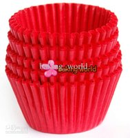 Wholesale Cupcake Baking Tray Paper - 500pcs Roll Lot Red Round greaseproof paper Cup cake tray Cupcake case High temperature baking cup Home Party diverse colorful Party
