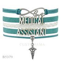 Wholesale Teal Bracelets - Custom-Infinity Love Medical Assistant Nurse Charm Wrap Bracelets Christmas Gifts Bracelets Teal White Leather Custom Womens Bracelets