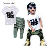 Wholesale Tattoo Sleeve Children - Wild Child Letters Printed Kids Tattoo Sleeves T-shirt Pants 2Pcs Outfits Ins Clothes Boys Clothing Set Baby Boys Clothes Boutique Clothing