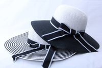 Wholesale Wholesale Party Straws - 2017Summer Women Retro Black&White Wide Brim Straw Sun Hat Lady Summer Travelling Hat for beach party gifts