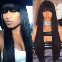 Wholesale Cute Brazilian Hair Lace Wigs - Royalty Hair Silky Straight Full Lace Wig 100% Indian Remy Human Hair Wigs with Cute Neat Bang Lace Wigs Fast Shipping