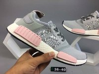 Drop Shipping Wholesale Hot NMD R1 W Primeknit PK Femmes Chaussures de course Gray Pink Sneakers Ship With Box