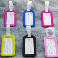 Wholesale Suitcase Card - 100pcs lot Wearable plastic Baggage tags name cards for travel Luggage Labels Suitcase Name card Travel accessories