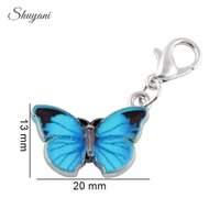Wholesale 14k Butterfly Pendant - 20PCS Fashion Silver Plated Colorful Enamel Butterfly Charms Pendants for Jewelry Making DIY Handmade Bracelet