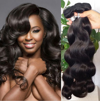 Wholesale medium brown remy hair weave for sale - Unprocessed Brazilian Human Remy Virgin Hair Body Wave Hair Weaves Hair Extensions Natural Color g bundle Double Wefts Bundles