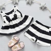 lindos vestidos de niña al por mayor-Venta al por mayor- Niza niños diseñador de la marca para niños pequeños para niños, niñas, bebés, trajes de verano, ropa, vestido + 2PCS Set ropa de ninas