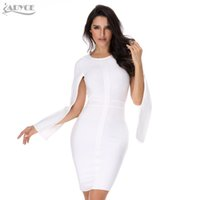 Wholesale White Winter Clubbing Dresses - x201710 2017 Sexy Women Winter Party Dresses White Bodycon Dress Black O-neck Batwing Sleeve Luxury Celebrity Runway Dress Club Vestidos