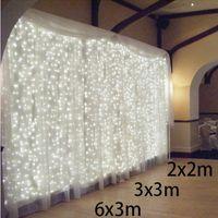cortinas de navidad al por mayor-3x3 / 6x3m 300 LED Icicle Cadena Luces led navidad luces navideñas Luces de hadas Hogar al aire libre para bodas / fiestas / cortinas / jardines