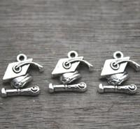 Wholesale Wholesale Graduation Caps - 25pcs--Graduation Charms, Antique Tibetan Silver Tone Grad Cap and Diploma Charm Pendants 17x15mm37x57mm